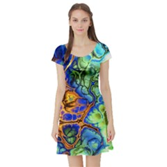 Abstract Fractal Batik Art Green Blue Brown Short Sleeve Skater Dress