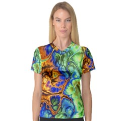 Abstract Fractal Batik Art Green Blue Brown Women s V Neck Sport Mesh Tee