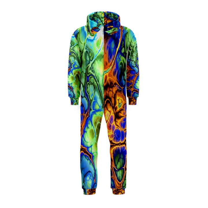 Abstract Fractal Batik Art Green Blue Brown Hooded Jumpsuit (Kids)