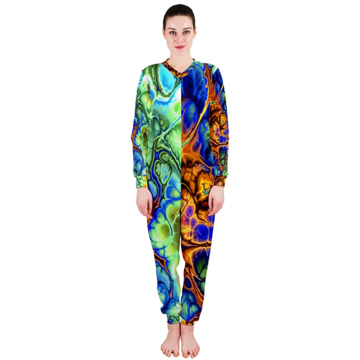 Abstract Fractal Batik Art Green Blue Brown OnePiece Jumpsuit (Ladies)