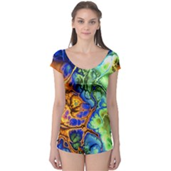 Abstract Fractal Batik Art Green Blue Brown Boyleg Leotard