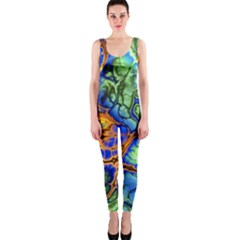 Abstract Fractal Batik Art Green Blue Brown Onepiece Catsuit by EDDArt