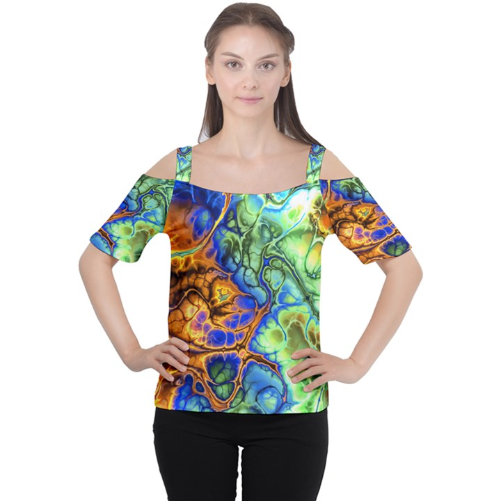 Abstract Fractal Batik Art Green Blue Brown Women s Cutout Shoulder Tee