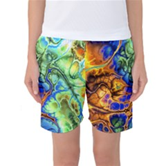 Abstract Fractal Batik Art Green Blue Brown Women s Basketball Shorts by EDDArt