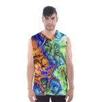 Abstract Fractal Batik Art Green Blue Brown Men s Basketball Tank Top