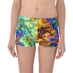 Abstract Fractal Batik Art Green Blue Brown Boyleg Bikini Bottoms
