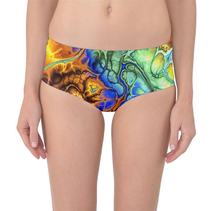 Abstract Fractal Batik Art Green Blue Brown Mid-Waist Bikini Bottoms