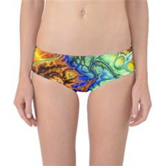 Abstract Fractal Batik Art Green Blue Brown Classic Bikini Bottoms