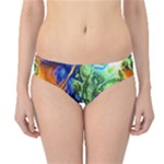 Abstract Fractal Batik Art Green Blue Brown Hipster Bikini Bottoms