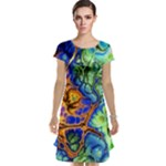Abstract Fractal Batik Art Green Blue Brown Cap Sleeve Nightdress