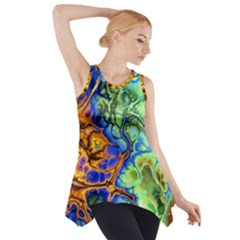 Abstract Fractal Batik Art Green Blue Brown Side Drop Tank Tunic