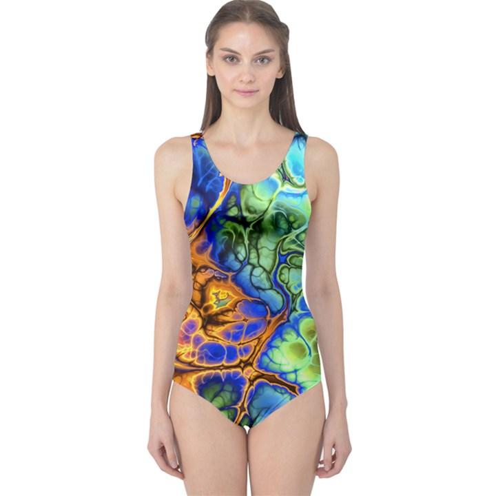 Abstract Fractal Batik Art Green Blue Brown One Piece Swimsuit