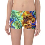 Abstract Fractal Batik Art Green Blue Brown Reversible Boyleg Bikini Bottoms