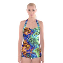 Abstract Fractal Batik Art Green Blue Brown Boyleg Halter Swimsuit