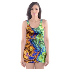 Abstract Fractal Batik Art Green Blue Brown Skater Dress Swimsuit