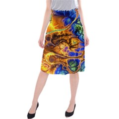 Abstract Fractal Batik Art Green Blue Brown Midi Beach Skirt by EDDArt