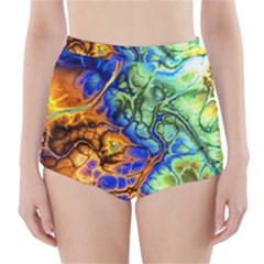 Abstract Fractal Batik Art Green Blue Brown High Waisted Bikini Bottoms