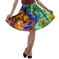 Abstract Fractal Batik Art Green Blue Brown A Line Skater Skirt by EDDArt