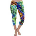 Abstract Fractal Batik Art Green Blue Brown Capri Yoga Leggings