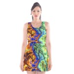 Abstract Fractal Batik Art Green Blue Brown Scoop Neck Skater Dress