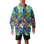 Abstract Fractal Batik Art Green Blue Brown Wind Breaker (Kids)