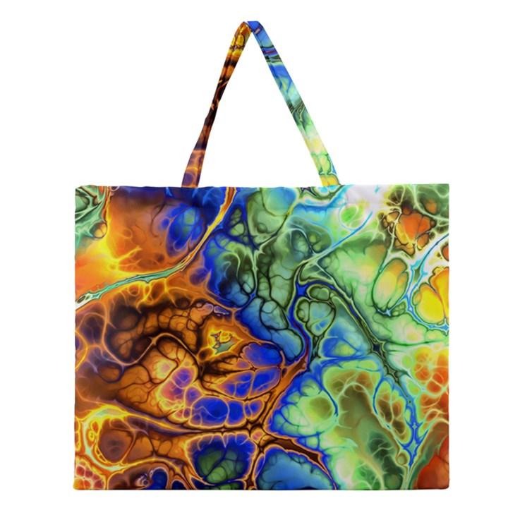 Abstract Fractal Batik Art Green Blue Brown Zipper Large Tote Bag
