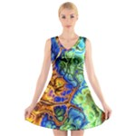 Abstract Fractal Batik Art Green Blue Brown V-Neck Sleeveless Skater Dress