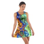 Abstract Fractal Batik Art Green Blue Brown Cotton Racerback Dress