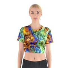 Abstract Fractal Batik Art Green Blue Brown Cotton Crop Top