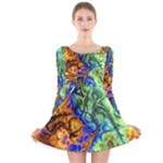 Abstract Fractal Batik Art Green Blue Brown Long Sleeve Velvet Skater Dress