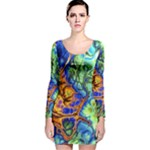 Abstract Fractal Batik Art Green Blue Brown Long Sleeve Velvet Bodycon Dress