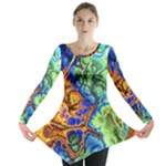 Abstract Fractal Batik Art Green Blue Brown Long Sleeve Tunic