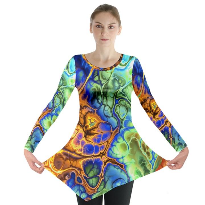 Abstract Fractal Batik Art Green Blue Brown Long Sleeve Tunic