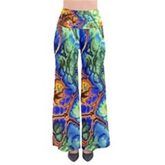 Abstract Fractal Batik Art Green Blue Brown Pants