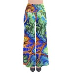 Abstract Fractal Batik Art Green Blue Brown Pants