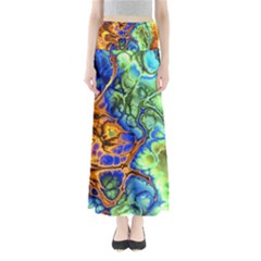 Abstract Fractal Batik Art Green Blue Brown Maxi Skirts