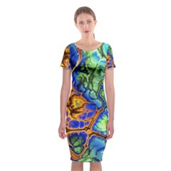 Abstract Fractal Batik Art Green Blue Brown Classic Short Sleeve Midi Dress