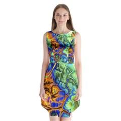 Abstract Fractal Batik Art Green Blue Brown Sleeveless Chiffon Dress   by EDDArt