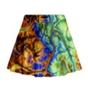 Abstract Fractal Batik Art Green Blue Brown Mini Flare Skirt View1
