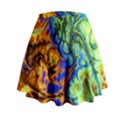 Abstract Fractal Batik Art Green Blue Brown Mini Flare Skirt View2