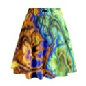 Abstract Fractal Batik Art Green Blue Brown High Waist Skirt View1
