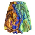 Abstract Fractal Batik Art Green Blue Brown High Waist Skirt View2