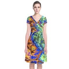 Abstract Fractal Batik Art Green Blue Brown Short Sleeve Front Wrap Dress