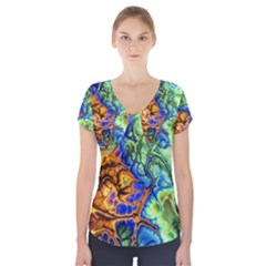 Abstract Fractal Batik Art Green Blue Brown Short Sleeve Front Detail Top by EDDArt