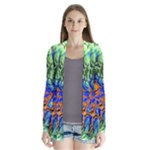 Abstract Fractal Batik Art Green Blue Brown Drape Collar Cardigan