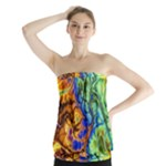 Abstract Fractal Batik Art Green Blue Brown Strapless Top