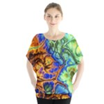 Abstract Fractal Batik Art Green Blue Brown Blouse