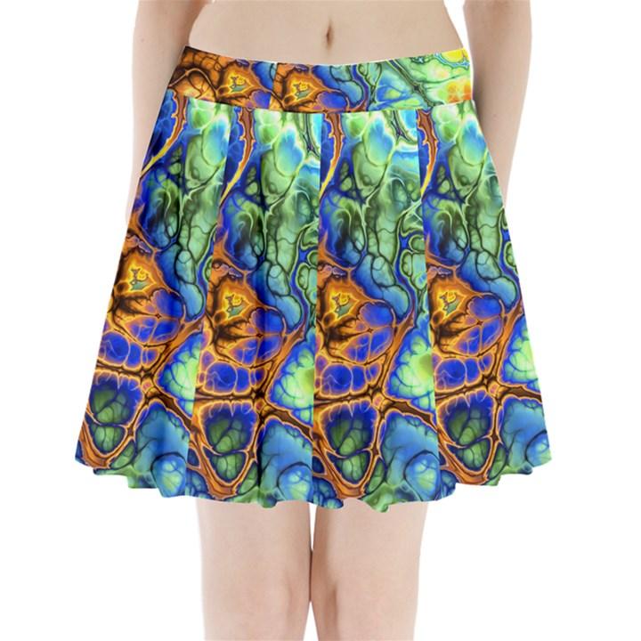 Abstract Fractal Batik Art Green Blue Brown Pleated Mini Skirt