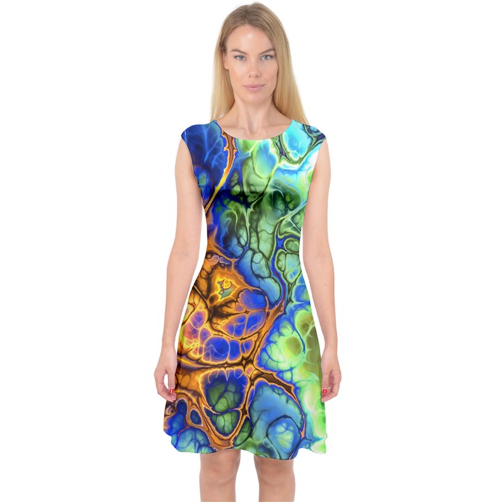 Abstract Fractal Batik Art Green Blue Brown Capsleeve Midi Dress