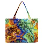 Abstract Fractal Batik Art Green Blue Brown Medium Zipper Tote Bag